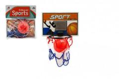 Basketbalová sada na přilepení na zeď míček+koš plast 14cm