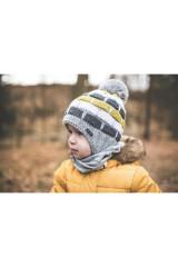 Čepice pletená zavazovací pruhy Outlast® - Šedožlutá
