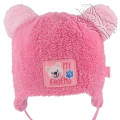 Dívčí zavazovací čepice Růžová s oušky RDX