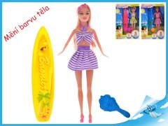Panenka kloubová 29cm plážová UV měnící barvu těla se surfem