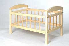 Postýlka pro panenky dřevo velká 58,5x33x37,5 cm v sáčku