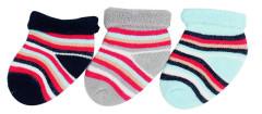Froté ponožky kojenecké proužky 0 - 6 měs  - 3 páry - VÝHODNÉ BALENÍ