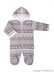 Zimní kojenecká kombinéza Baby Service Etnik zima šedo-růžová
