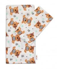 Flanelové povlečení - Medvídek hnědý v bílé Cute Teddy Baby Nellys  120x90 cm