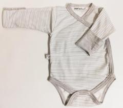 Bavlněné body dlouhý rukáv s rukavičkami Proužky Baby Service