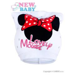 Jarní dětská čepička New Baby Lovely Mouse vel. 104 BÍLÁ
