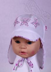 Dívčí klobouk s plachetkou a vázáním vel. 50 - BÍLÝ