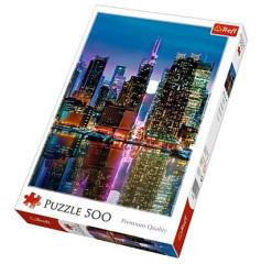 Puzzle Trefl Noční Manhattan, New York 500 dílků 48x34cm
