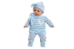 Panenka/miminko vonící 45cm modré šaty plačící měkké tělo na baterie