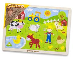 Puzzle dřevěné - farma 24 dílky