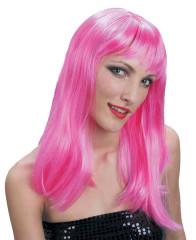 Paruka růžová - dlouhé vlasy