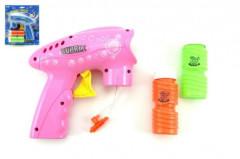 Pistole bublifuk plast 15x15cm na setrvačník asst 2 barvy na kartě