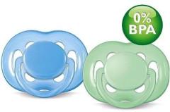 Šidítko silikonové SENSITIVE 6-18m 2ks Avent modrá + zelená
