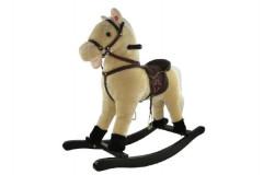 Kůň houpací béžový plyš výška 56cm nosnost 50kg v krabici