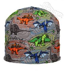 Chlapecká funkční čepice Dino modro-zeleno-oranžová