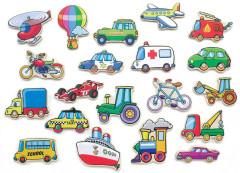 Dřevěné magnety 20 ks - dopravní prostředky Viga