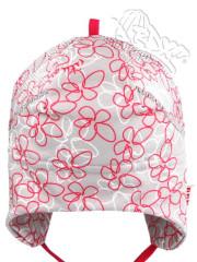 Funkční letní čepička zavazovací šedá růžové květy Coolmax RDX