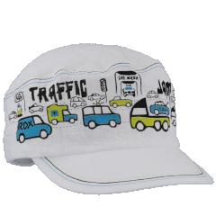 Chlapecká bavlněná kšiltovka Auta Traffic Bílá RDX