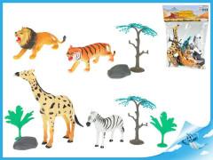 Zvířátka safari 4ks 10-16cm s doplňky