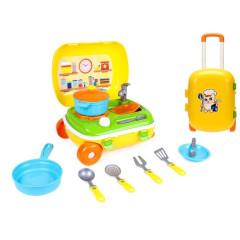 Kufřík na kolečkách/kuchyňka s nádobím 2v1