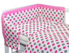 Souprava třídílná Baby Nellys Puntíky růžové 120 x 90 cm