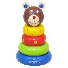 Dřevěná hračka Baby Mix - věž 18+ Medvídek