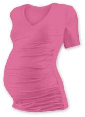 Těhotenské tričko kr. rukáv s výstřihem do V - růžové