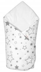 Novorozenecká rychlozavinovačka Klasik 78 x 78 cm Baby Nellys - Šedé hvězičky + bílá