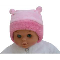 Zimní kojenecká čepice s růžky, RŮŽOVÁ Esito
