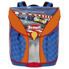 Školní batoh Scout - Závodní formule - modro-oranžový