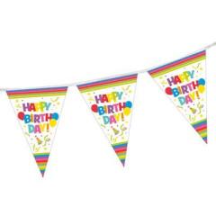 Party řetěz vlaječek 4m Happy Birthday