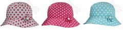 Dívčí puntíkovaný klobouk s kytičkou vel. 52