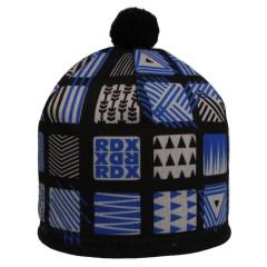 Zimní čepice s bambulkou čtvercové vzory modrá RDX