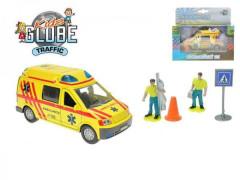 Auto ambulance kov 13cm s postavičkami na zpětný chod na baterie se světlem se zvukem v kr