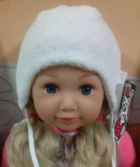 Zimní kojenecká zavazovací čepice vel. 0 (38-40cm) - BÍLÁ