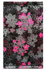 Funkční tunel- multifunkční šátek neonové květy - černá RDX