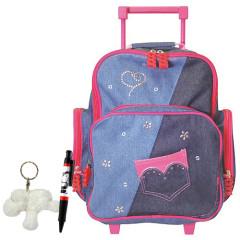 Školní batoh Cool trolley set - 3-dílná sada - modro-růžový jeans