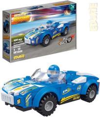 EDUKIE stavebnice auto závodní modré na zpětný chod 107 ks + 1 figurka