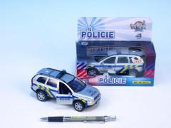 Policejní auto Volvo se zvukem a světlem , na zpětné natažení 14 cm