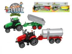 Traktor s vlečkou kov 25cm na setrvačník na baterie se zvukem se světlem