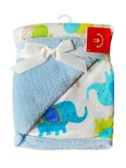 Dětská deka z mikrovlákna sloníci modrá 76x102 cm Bobobaby