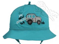 5eefb3d155e Chlapecký letní zavazovací klobouček AUTO vel. 46 TYRKYSOVÝ