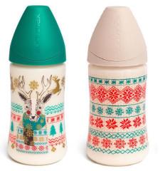 Láhev 270 ml kulatá savička silikon SUAVINEX 0-6m Zima