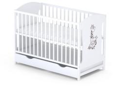 Dřevěná postýlka Baby sky Miki  - MIKI 100 bílá se šuplíkem