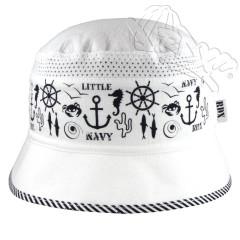 Letní klobouček marine se síťkou bílý RDX
