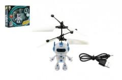 Plastový létající svítící vrtulníkový robot 13x11 cm s USB kabelem na nabíjení