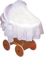 Proutěný koš s boudou Lux Spokojené sny jednobarevný bílý + síťka proti hmyzu