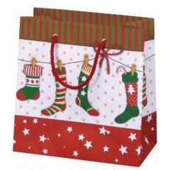 Vánoční dárková taška 16,5 x 16,5 cm Vánoční punčochy