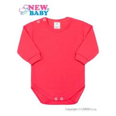 Kojenecké body s dlouhým rukávem New Baby Tmavě růžové