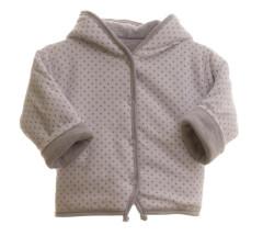 Oboustranný kabátek MKCool Thermo hvězdičky bílá/šedá s kapucí